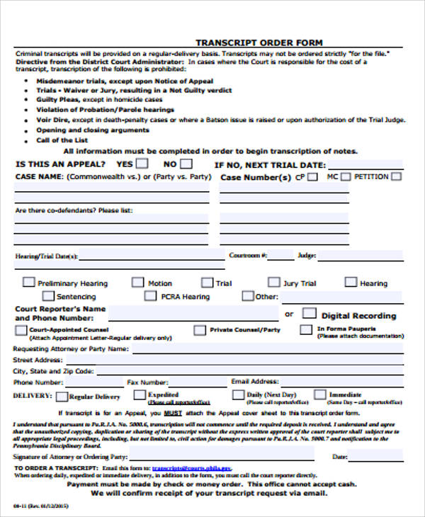 9+ Sample Blank Order Forms Sample Templates