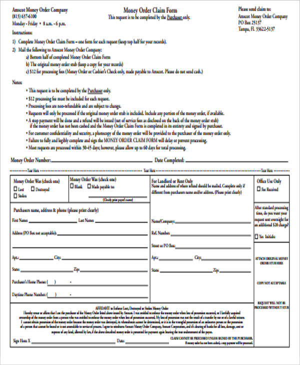 Sample Blank Order Form - 9+ Examples in Word, PDF - money order form