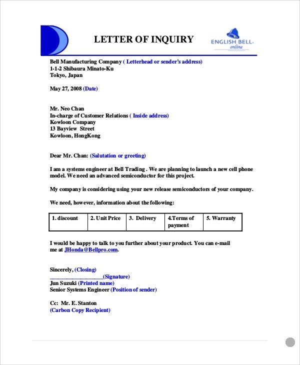 6+ Sample Business Enquiry Letters Sample Templates - example of inquiry letter for product