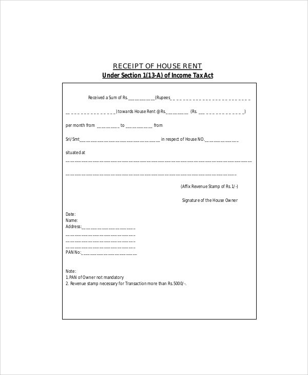 Sample Rent Receipt Formats - 9+ Examples in Word, PDF - house rent receipt format