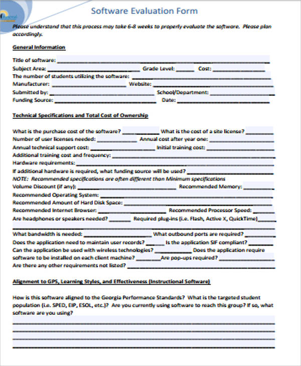8+ Sample Software Evaluation Forms Sample Templates