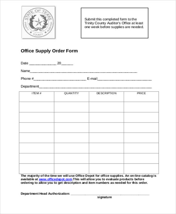 office supply order form