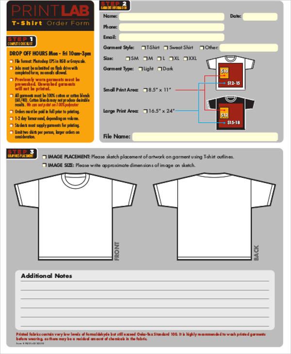 8+ Sample Shirt Order Forms Sample Templates - t shirt order forms