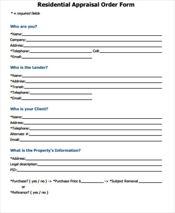 11+ Sample Appraisal Order Forms Sample Templates