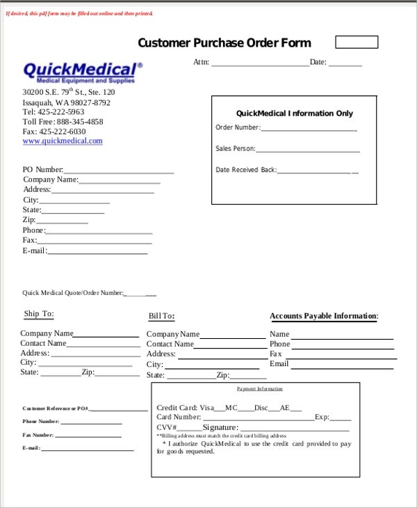 Sample Medical Order Form - 9+ Examples in Word, PDF - purchase order form free