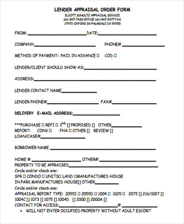 Sample Appraisal Order Form - 11+ Examples in Word, PDF - appraisal order form