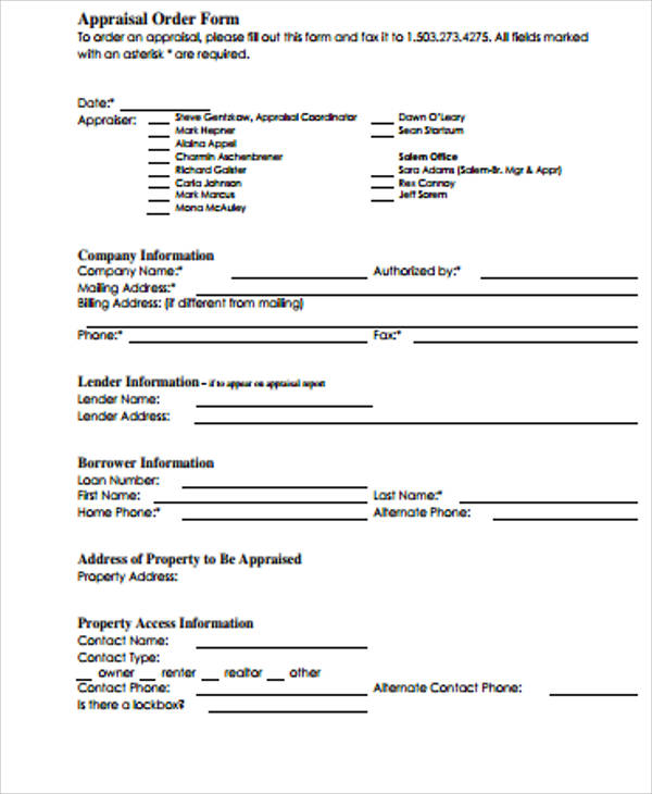 blank order form hitecauto - appraisal order form