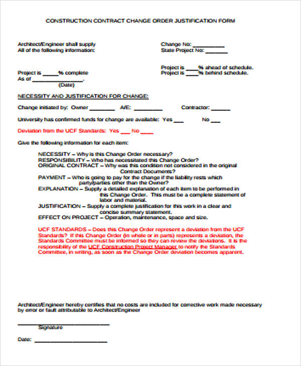 7+ Sample Construction Change Order Forms Sample Templates - construction contract forms