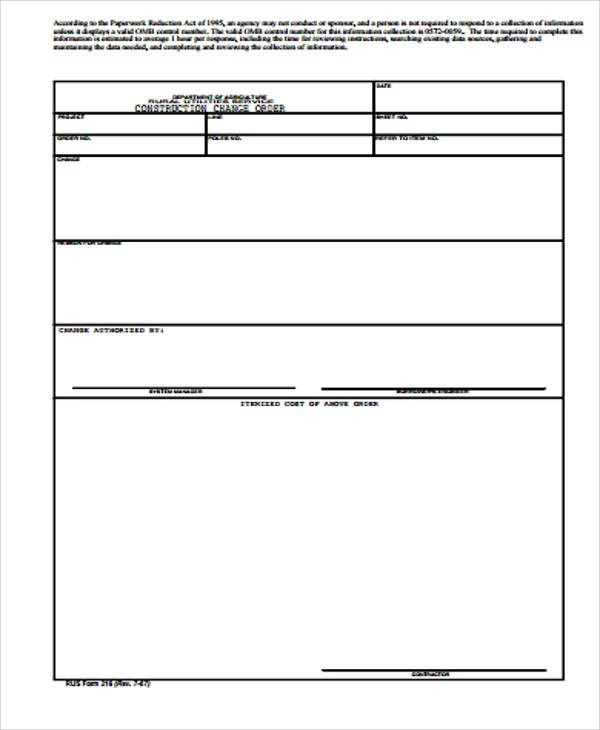 Sample Construction Change Order Form - 7+ Examples in Word, PDF