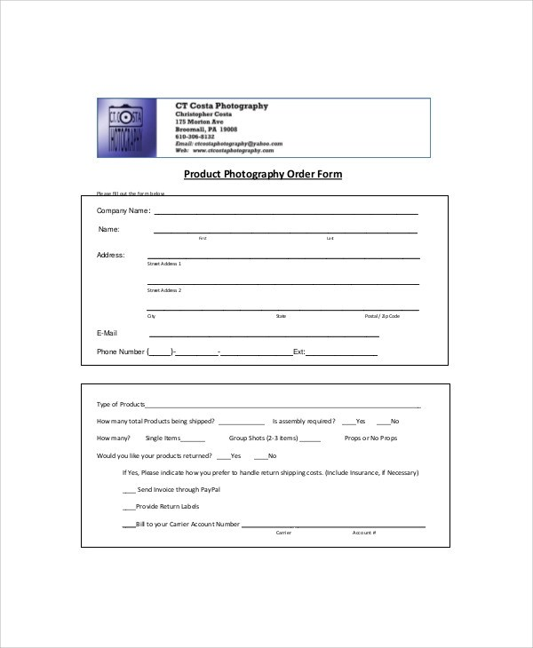 Sample Photography Order Form - 10+ Examples in Word, PDF
