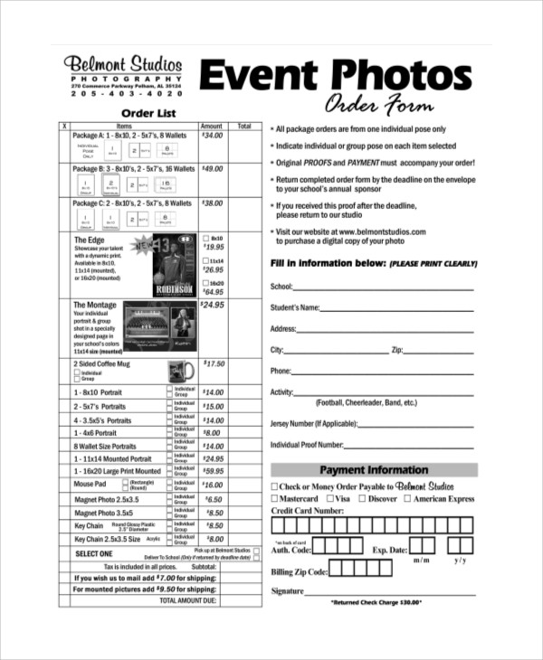 ... Sample Photography Order Form   10+ Examples In Word, PDF   Event Order  Form ...