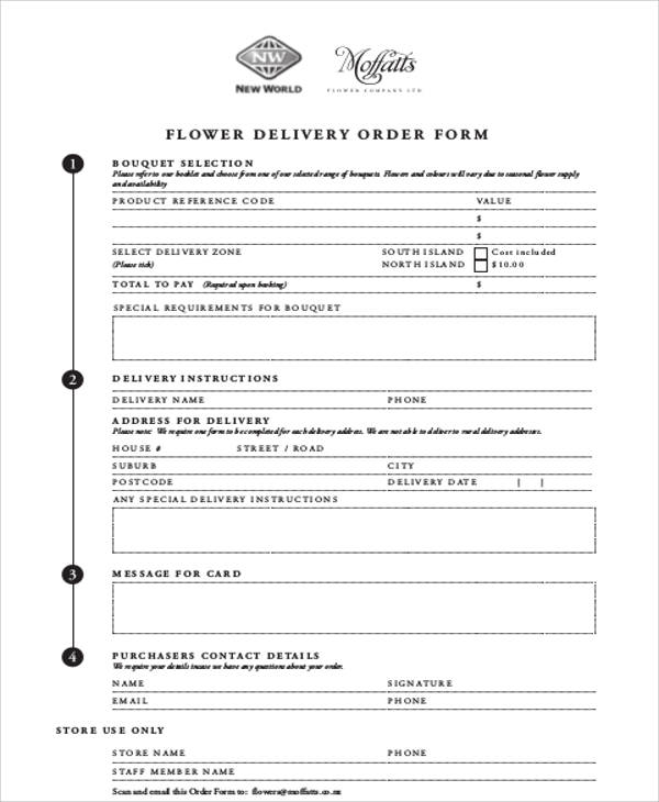 Flower Delivery Order Form - Flowers Healthy