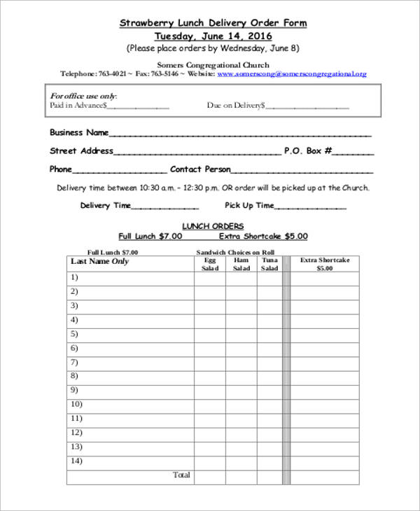 6+ Sample Delivery Order Forms Sample Templates