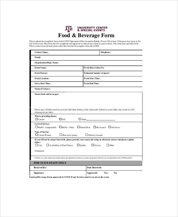 Sample Food Order Form - 9+ Examples in Word, PDF - event order form