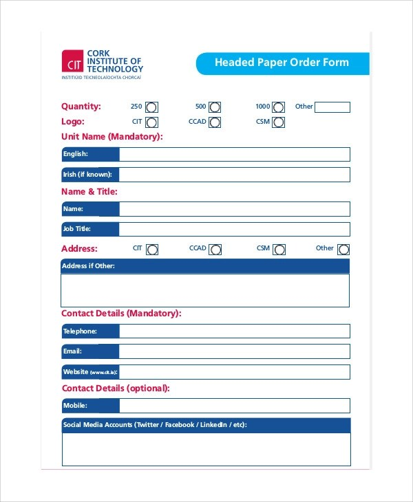 10+ Sample Paper Order Forms Sample Templates
