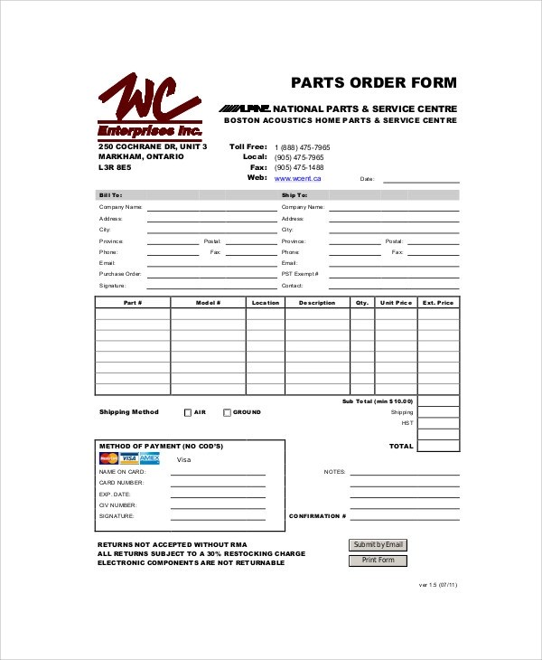 11+ Sample Parts Order Forms Sample Templates - local purchase order template