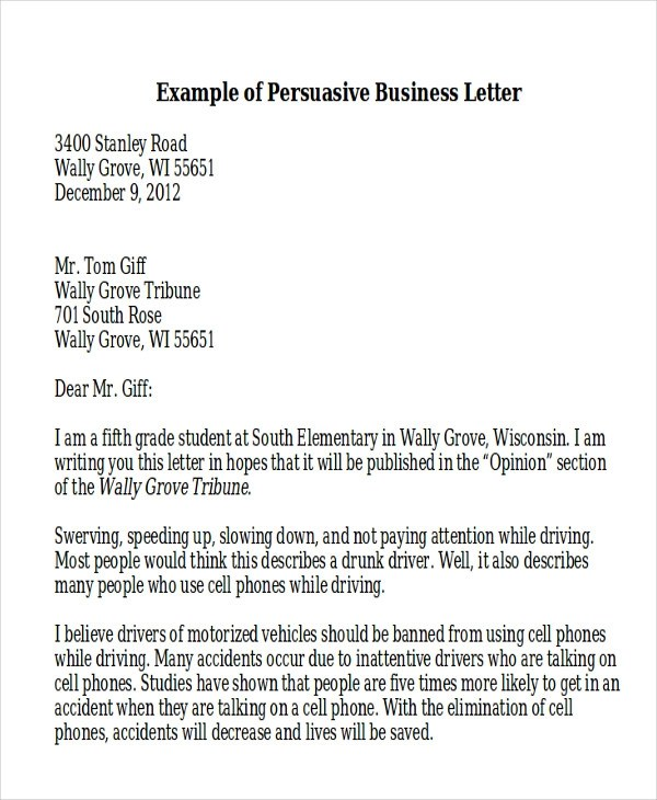 7+ Sample Persuasive Business Letters Sample Templates - Business Letter Example
