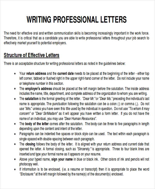 Sample Business Letter Layout - 8+ Examples in Word, PDF - professional business letter