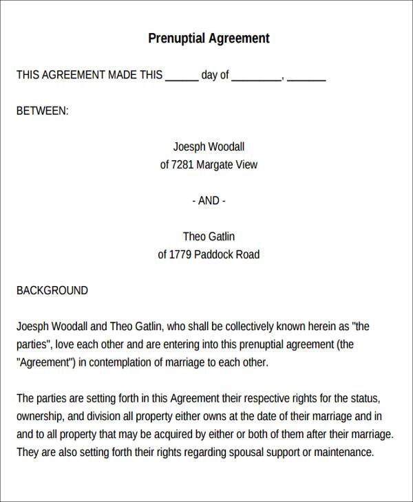 8+ Sample Prenuptial Agreement - Free Sample, Example,Format Download - sample prenuptial agreement template