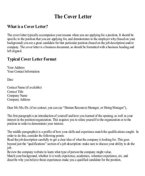 how to lay out a cover letter