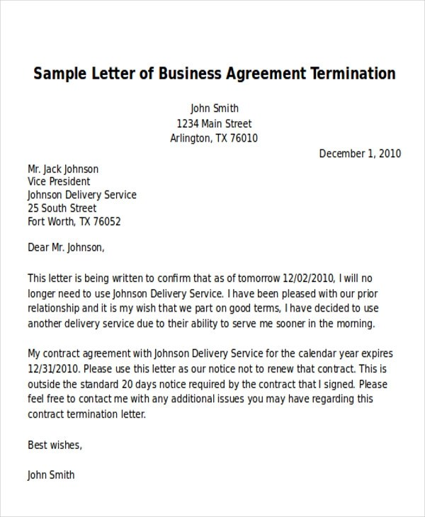 7+ Sample Termination of Business Letters - PDF, Word, Apple Pages