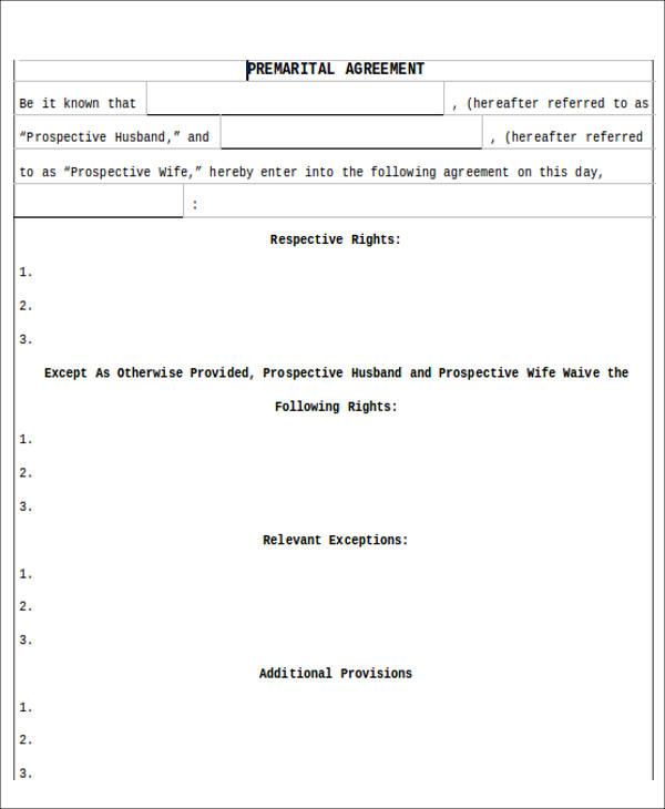 8+ Sample Prenuptial Agreement - Free Sample, Example,Format Download