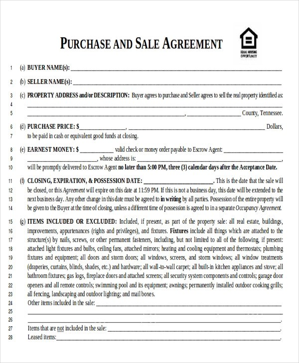 Sample Home Sales Contracts - 6+ Examples in Word, PDF - free home sale contract