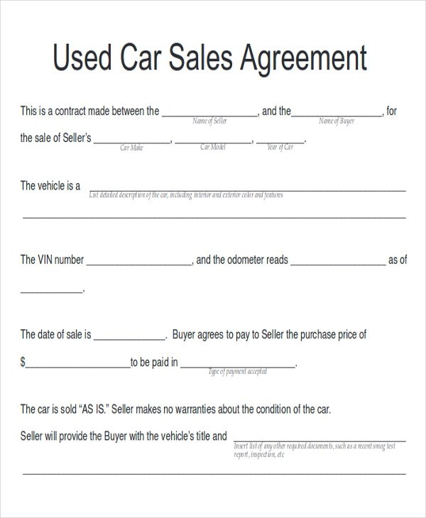 vehicle sales agreement word - Canasbergdorfbib