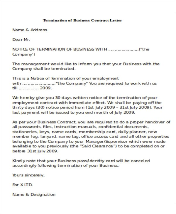 business contract termination letters - Kendicharlasmotivacionales