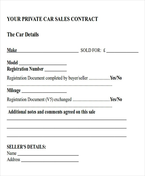 Sample Car Sales Contract - 12+ Examples in Word, PDF