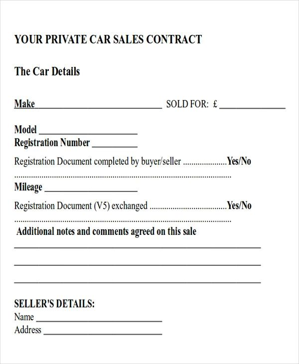car payment agreement template
