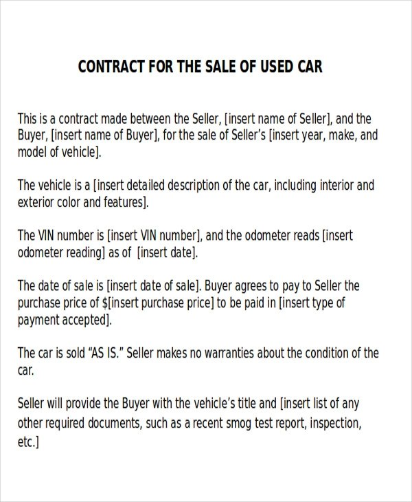 12+ Sample Car Sales Contracts Sample Templates - car purchase agreement with payments