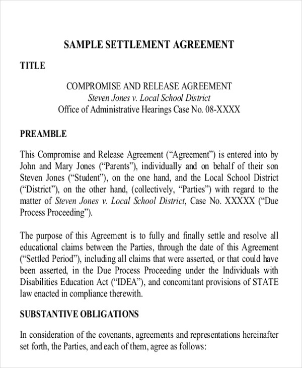 11+ Settlement Agreement Samples - Word, PDF