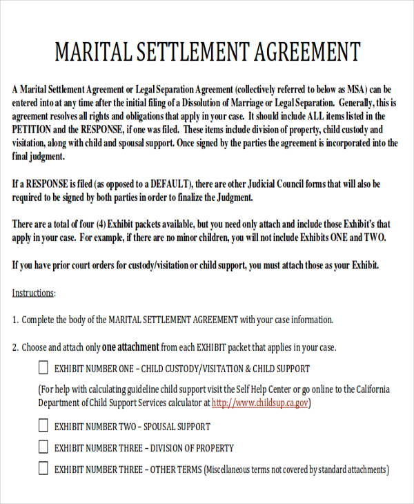 ... Divorce Agreement Sample   7 Examples In Word, PDF   Divorce Agreement  ...