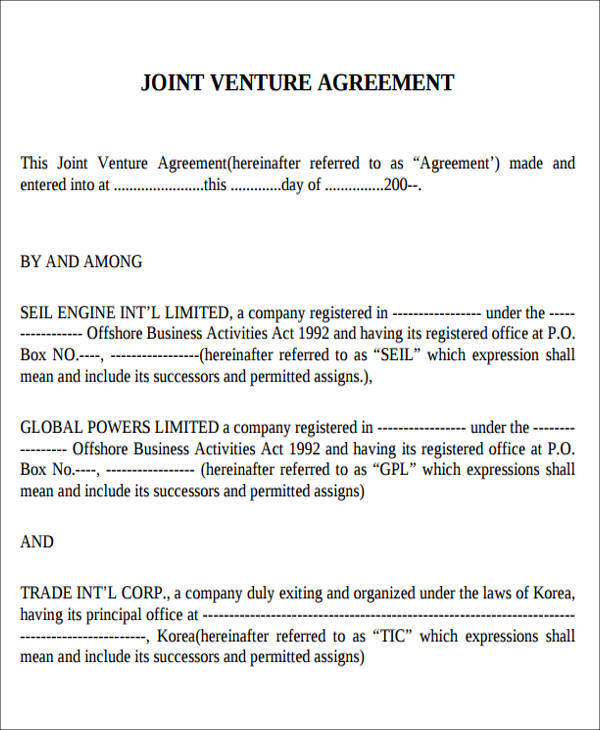 10+ Joint Venture Agreement Samples  Templates - PDF, Word