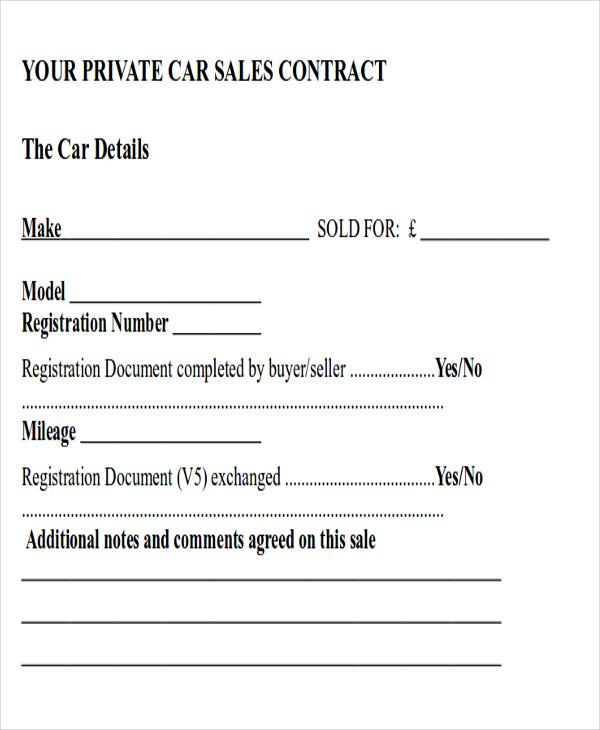 sample car sales agreement
