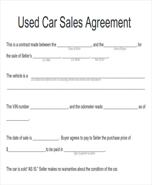 Vehicle Sales Agreement Sample  EnvResumeCloud