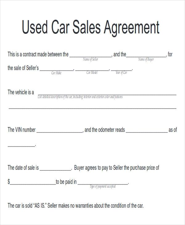 used vehicle purchase agreement