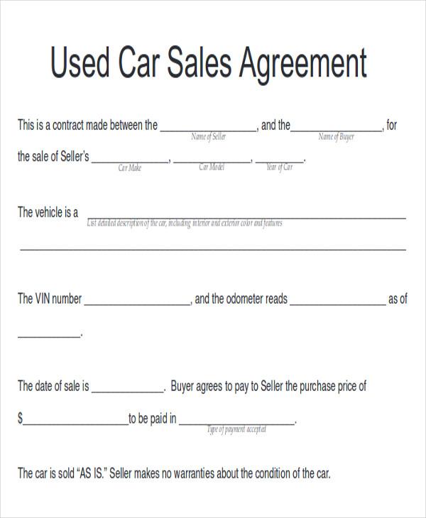 car sales contract pdf