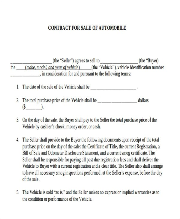 Automobile Sales Contract - Design Templates - Automobile Sales Contract