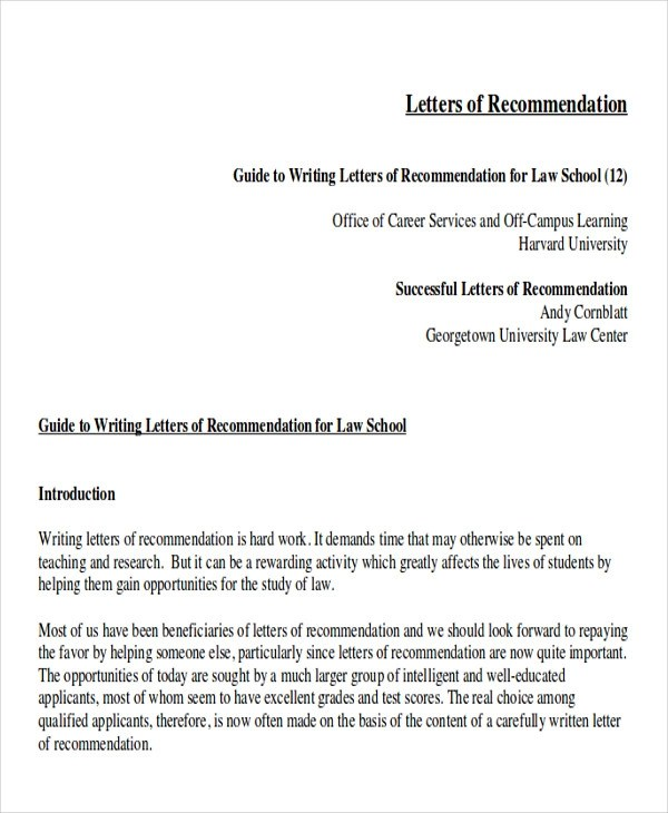 Sample Law School Letter of Recommendation - 6+ Examples in Word, PDF - generic letter of recommendation