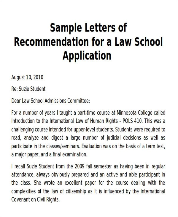 Sample Law School Letter of Recommendation - 6+ Examples in Word, PDF - formats for letters of recommendation