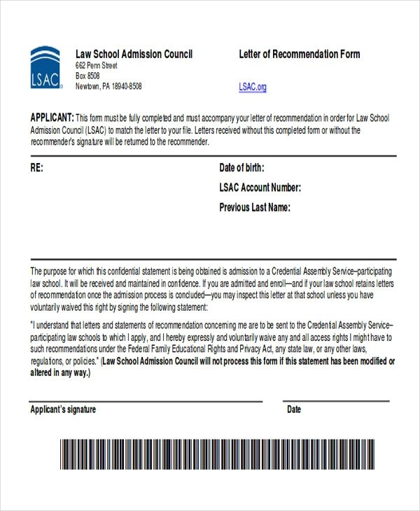 6+ Sample Law School Letter of Recommendation Sample Templates - law school letter of recommendation