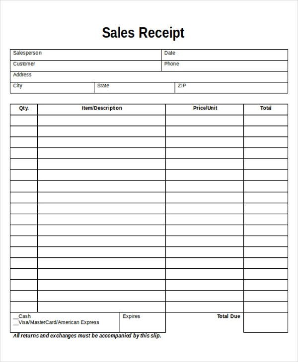5+ Printable Sales Receipt Samples Sample Templates
