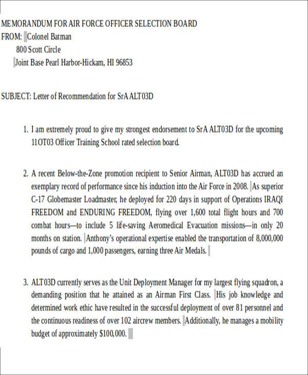 sample letter of recommendation military officer program