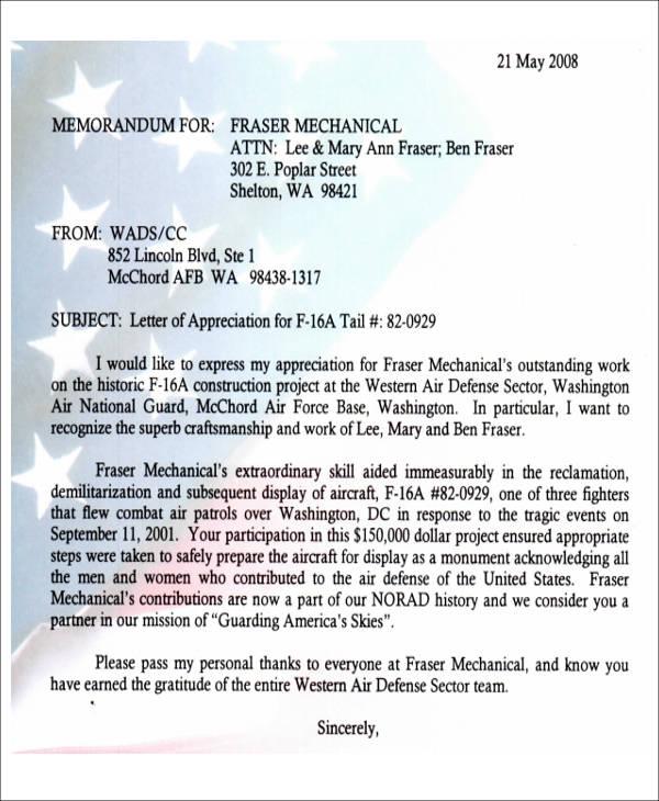af letter of recommendation