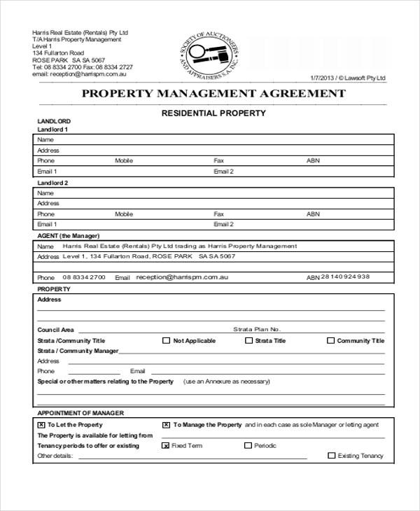 6+ Sample Commercial Property Management Agreements Sample Templates - property management agreements