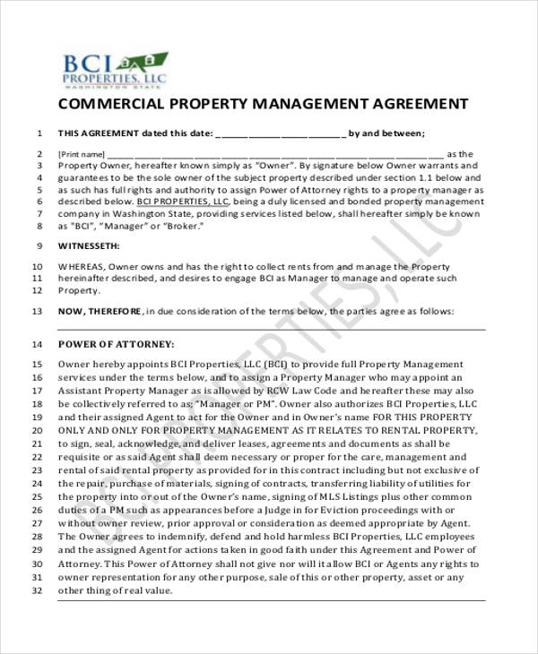 ... Sample Commercial Property Management Agreement   6+ Examples In   Property  Management Agreements ...