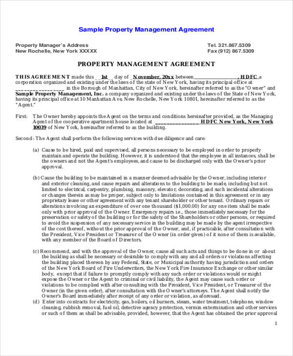 Beau Sample Commercial Property Management Agreement   6+ Examples In