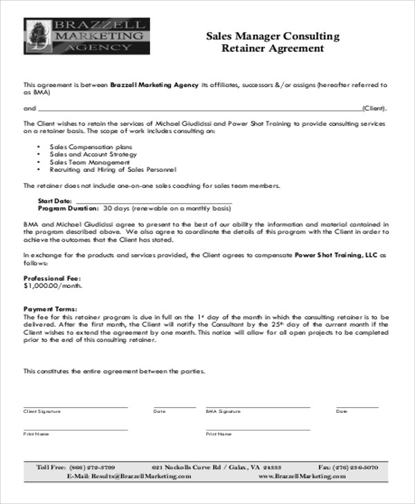 Marketing Consulting Agreement Business Retainer Agreement Sample